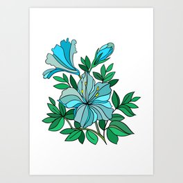 Abstract blue flower Art Print
