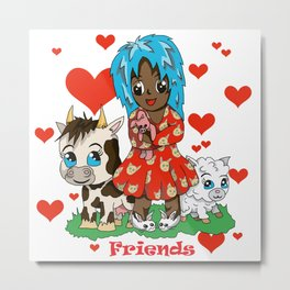 Farmyard friends with red text Metal Print