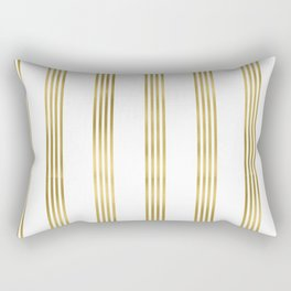 Simply luxury Gold small stripes on clear white - vertical pattern Rectangular Pillow