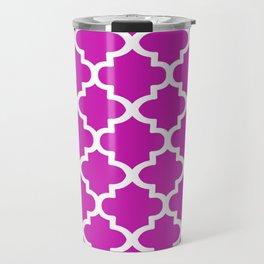 Arabesque Architecture Pattern In Pink Travel Mug