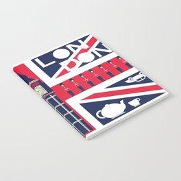 Vintage Union Jack UK Flag with London Decoration Notebook