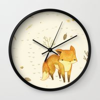 friends Wall Clocks featuring Lonely Winter Fox by Teagan White