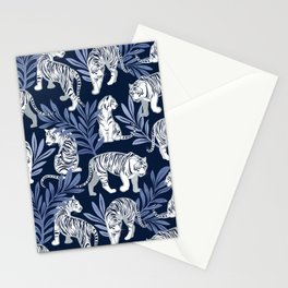 Nouveau white tigers // navy blue background blue leaves silver lines white animal Stationery Cards