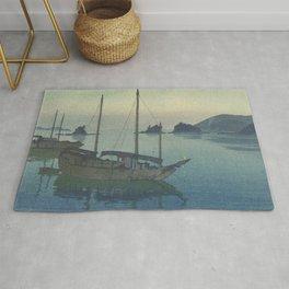 Hiroshi Yoshida, Moon Over Three Little Islands - Vintage Japanese Woodblock Print Art Rug