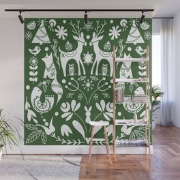 Holiday Folk art in green and white Wall Mural