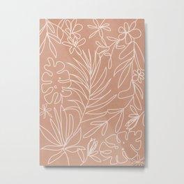 Engraved Tropical Line Metal Print