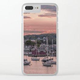 Rockport Harbor Autumn Sunset Clear iPhone Case