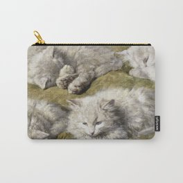 Henriette Ronner-Knip - Studies Of A Long-Haired White Cat Carry-All Pouch
