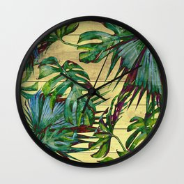 Tropical Palm Leaves on Wood Wall Clock