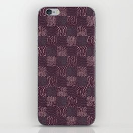 Hand Drawn Geometric Square Pattern Design - Burgundy iPhone Skin
