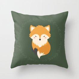 Sleepy Fox Pattern Throw Pillow