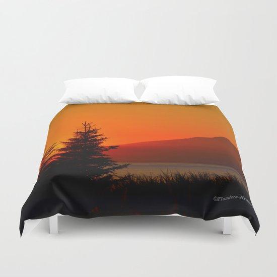Orange Sky - Mt. Redoubt Duvet Cover