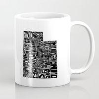 utah Mugs featuring Typographic Utah by CAPow!