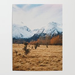 Peaceful New Zealand mountain landscape Poster