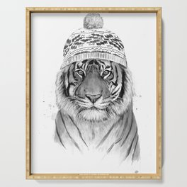Siberian tiger (b&w) Serving Tray