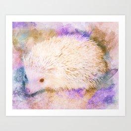 Sweet Champagne Hedgehog Watercolor Effect Art Print