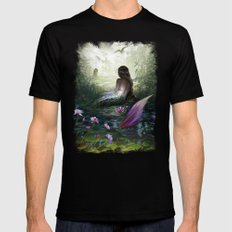 Little mermaid - Lonley siren watching kissing couple Mens Fitted Tee LARGE Black