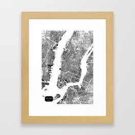 New York City Map United States White and Black Rubbing Framed Art Print