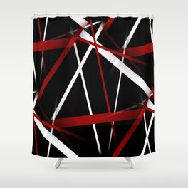 Seamless Red and White Stripes on A Black Background Shower Curtain