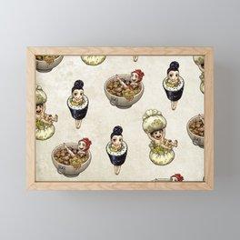 FOOD FAERIES- udon, sushi, and dimsum Framed Mini Art Print
