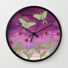 echinacea daydream with luna moths and snails Wall Clock