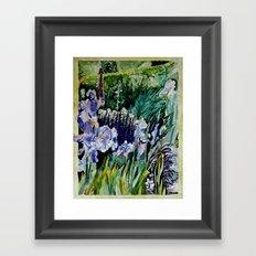 Irises in the garden - watercolor Framed Art Print