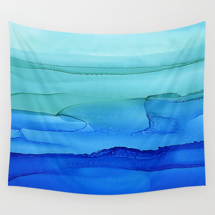 Alcohol Ink Seascape Wall Tapestry