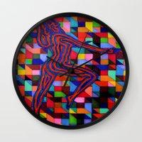 onward Wall Clocks featuring Onward and Upward by Ana Lillith Bar
