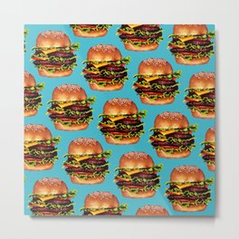 Cheeseburger Pattern Metal Print
