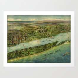 Panoramic view of West Palm Beach, North Palm Beach and Lake Worth, Florida (1915) Art Print