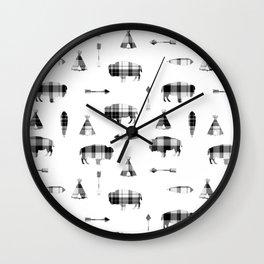 Buffalo Tribe // Grey/Black Plaid Wall Clock