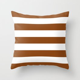Saddle brown - solid color - white stripes pattern Throw Pillow