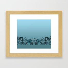 Kitschy Flower Medley Turquoise Framed Art Print