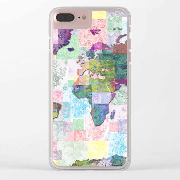 world map floral collage Clear iPhone Case