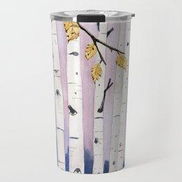Birch Trees Watercolor Travel Mug