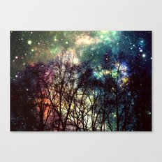 Black Trees Deeply Colorful Space Canvas Print
