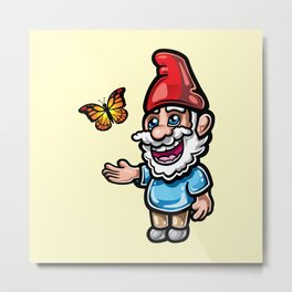Gnome and Butterfly Metal Print
