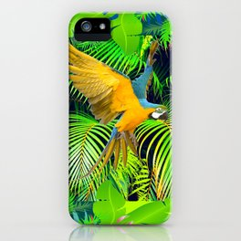 BLUE & GOLD MACAW JUNGLE  ART DESIGN iPhone Case