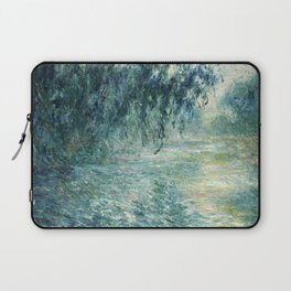 1898-Claude Monet-Morning on the Seine- 73 x 91 Laptop Sleeve