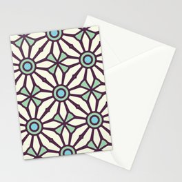Bold and Kitschy Mid Century Pattern in White and Aqua Stationery Cards