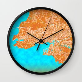 La Rochelle, France, Gold, Blue, City, Map Wall Clock