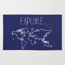 Explore World Map - Navy Rug