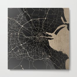 Black on Gold Dublin Street Map Metal Print