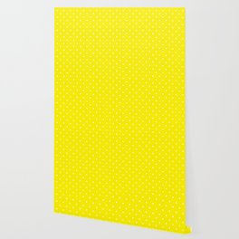 Small White Polka Dots with Yellow Background Wallpaper