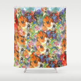 Poppies and Wildflower Impressions Shower Curtain