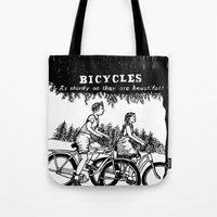 bicycles Tote Bags featuring Bicycles by Addison Karl