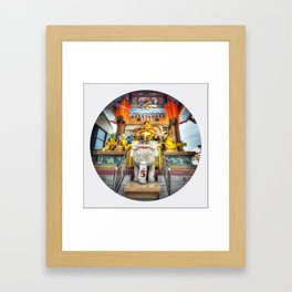 Laughing Buddha (Circle) Framed Art Print