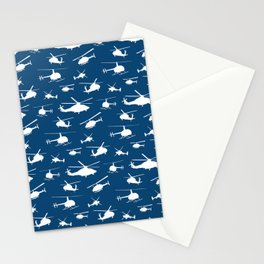 Helicopter Silhouettes on Blue Stationery Cards
