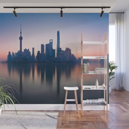 Shanghai Skyline over Huangpu River Wall Mural