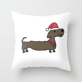Dacshund Santa Throw Pillow